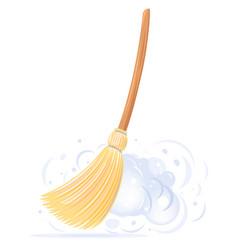 Big yellow broom sweep dust vector