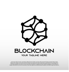 Blockchain logo with line art concept future vector