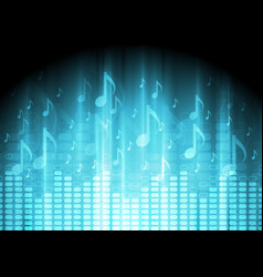 Blue music background with equalizer and notes vector