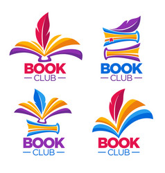 Book club library or shop cartoon logo template vector