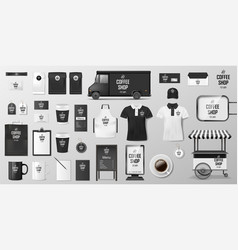 branding corporate identity set for coffee shop vector image