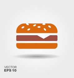 burger sandwich flat icon vector image