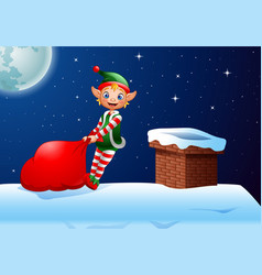 cartoon elf pulling a bag full of gifts on roof vector image