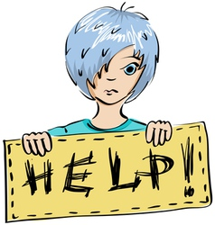 Child asks for help vector