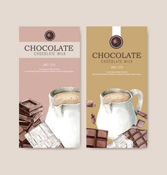 Chocolate packing design with pitcher milk vector