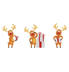 Christmas deer set vector