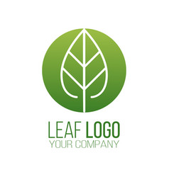 circle green leaf logo icon design landscape vector image