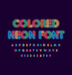 colored neon font colorful outlines letter vector image