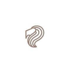Creative brown lion head logo symbol vector