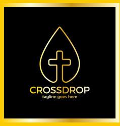 cross drop logo - christ blood vector image