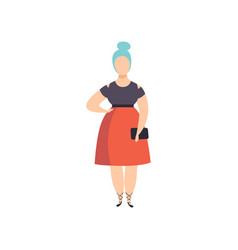 Curvy overweight fashionable girl with blue dyed vector
