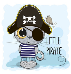 Cute cartoon kitten in a pirate hat vector