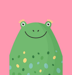 cute frog head flat adorable vector image
