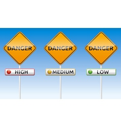 Danger - high medium low traffic board vector image