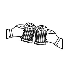 figure glasses of beers in the hand icon design vector image
