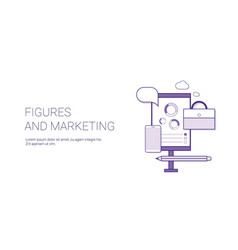 figures and marketing business concept template vector image