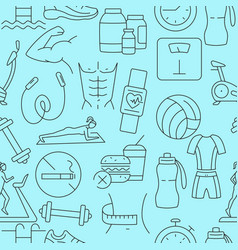 Fitness pattern with line icons vector