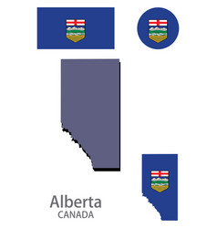 Flag and silhouette canadian province vector