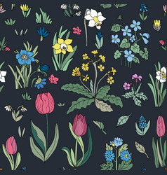 Flowers seamless pattern collection set on black vector