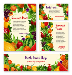 Fruit and fresh berry banner template set design vector