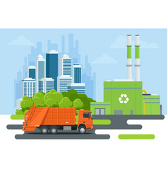 Garbage truck or recycle truck in city garbage vector
