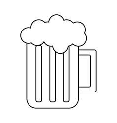 glass beer mug foam cold drink outline vector image