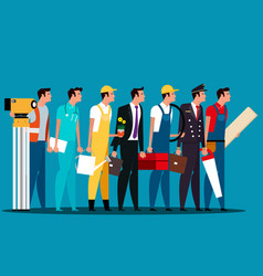 group of people career characters labor day vector image