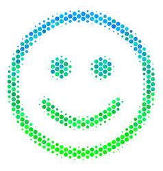 Halftone blue-green glad smiley icon vector