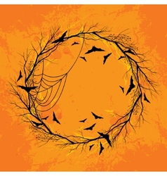 Halloween wreath orange background vector image