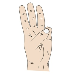 Hand with three fingers up vector image