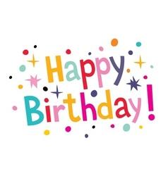 Happy birthday cartoon text 2 vector image