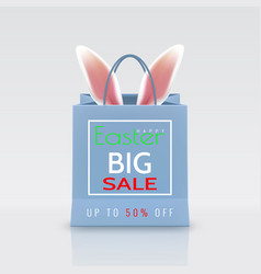 happy easter sale realistic paper shopping bag vector image
