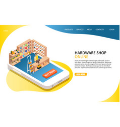 Hardware online shop landing page website vector