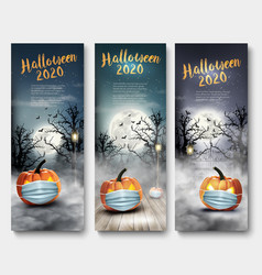 holiday halloween banners with pumpkins wearing vector image