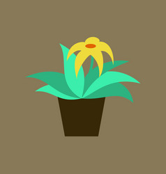 Icon in flat design flowering pot vector