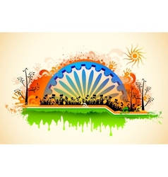 Indian citizen waving flag on tricolor flag vector image