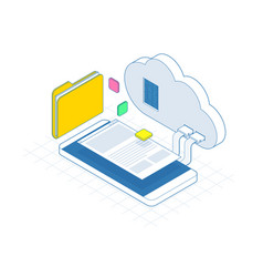 isometric mobile cloud cloud storage or data vector image