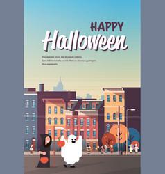 Kids wearing monsters ghost grim reaper costumes vector