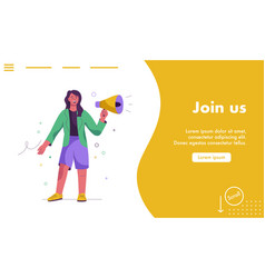 Landing page join us concept vector