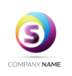 letter s logo symbol in the colorful circle on vector image