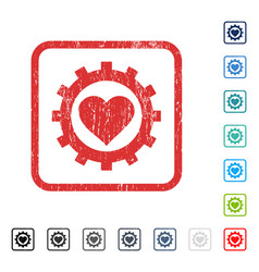 Love heart options gear icon rubber watermark vector