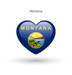Love Montana state symbol Heart flag icon vector image