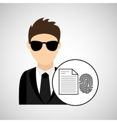 man cartoon fingerprint file digital technology vector image