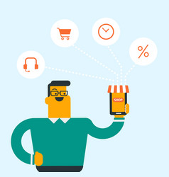 man holding phone connected with shopping icons vector image