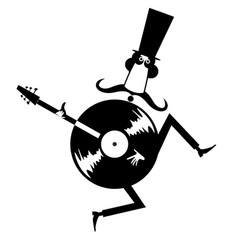 Man in top hat guitar and vinyl record icon vector
