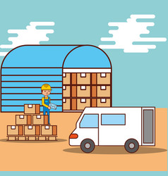 man logistic warehouse boxes and van truck vector image
