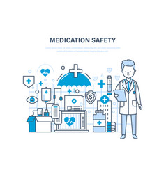 Medication safety medical care healthcare vector
