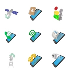 Mobile phone use icons set cartoon style vector image