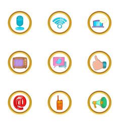 Modern communication icon set cartoon style vector