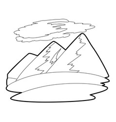 mountain icon outline style vector image